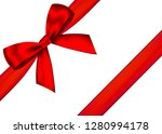 red realistic gift bow with... | Shutterstock .eps vector #1280994178