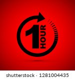 one hour arrow icon | Shutterstock .eps vector #1281004435