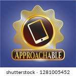 gold shiny badge with mobile... | Shutterstock .eps vector #1281005452
