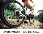 mountain biking on forest trail | Shutterstock . vector #1281015862