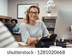 mature beautiful woman at... | Shutterstock . vector #1281020668