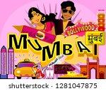 mumbai bombay  banner or poster ... | Shutterstock .eps vector #1281047875