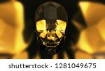 halloween crystal skull... | Shutterstock . vector #1281049675