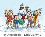Vector Illustration  Snowman...