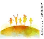 watercolor of happy kids... | Shutterstock .eps vector #1281080302