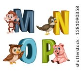animal alphabet. vector... | Shutterstock .eps vector #1281090358
