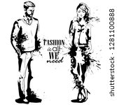 woman and man models dressed... | Shutterstock . vector #1281100888