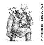 Stock photo funny bigfoot drawing pencil illustration 1281106435