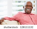 portrait of happy senior man at ... | Shutterstock . vector #128111132