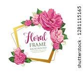 vector pink floral frame design ... | Shutterstock .eps vector #1281115165