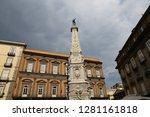 san domenico obelisk in naples... | Shutterstock . vector #1281161818