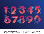 futuristic  illustrated numbers ... | Shutterstock .eps vector #1281178795