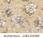 seamless pattern with flowers... | Shutterstock . vector #1281226585