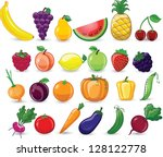 cartoon vegetables and fruits | Shutterstock .eps vector #128122778