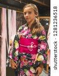 a pretty girl in a kimono.... | Shutterstock . vector #1281236518