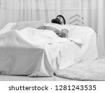 man laying on bed  covered with ... | Shutterstock . vector #1281243535