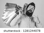 sale and discount concept. guy... | Shutterstock . vector #1281244078