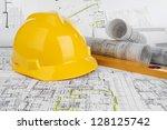 yellow helmet  level and... | Shutterstock . vector #128125742