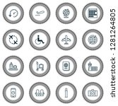 traveling icons set with seats  ... | Shutterstock .eps vector #1281264805