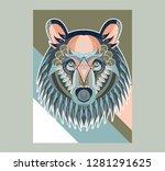 cute bear character vector... | Shutterstock .eps vector #1281291625