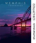 memphis modern vector poster. ... | Shutterstock .eps vector #1281297022