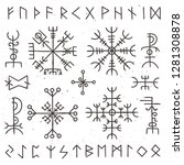 mystical viking runes. ancient... | Shutterstock . vector #1281308878