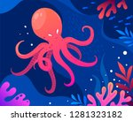 octopus  coral and colorful... | Shutterstock .eps vector #1281323182