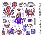 seafood cliparts. underwater... | Shutterstock .eps vector #1281359845