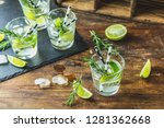 fresh cocktail with lime  ice... | Shutterstock . vector #1281362668