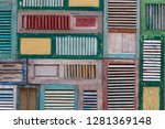 old weathered wooden doors with ... | Shutterstock . vector #1281369148