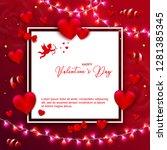 happy valentines day banner...   Shutterstock .eps vector #1281385345