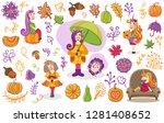 hand drawn elements. autumn set.... | Shutterstock .eps vector #1281408652