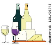wine bottle and wineglass icon... | Shutterstock .eps vector #1281408745