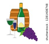 wine bottle and wineglass icon... | Shutterstock .eps vector #1281408748