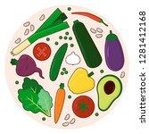 veggies colourful set. organic...   Shutterstock .eps vector #1281412168