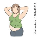 fat woman posing. the problem... | Shutterstock .eps vector #1281413515