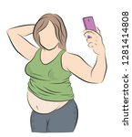 fat woman posing on the phone ... | Shutterstock .eps vector #1281414808