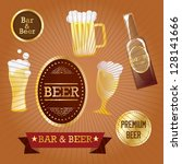 beer labels with retro colors ... | Shutterstock .eps vector #128141666