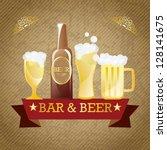 bar   beer elements. on vintage ... | Shutterstock .eps vector #128141675