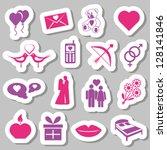 valentine stickers   Shutterstock .eps vector #128141846