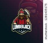 lumberjack mascot logo design... | Shutterstock .eps vector #1281435175