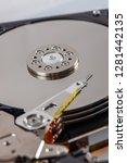 hard disk rotating details....   Shutterstock . vector #1281442135