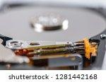 hard disk rotating details....   Shutterstock . vector #1281442168