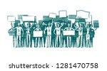 crowd of people with placards... | Shutterstock .eps vector #1281470758