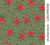 flower pattern with hand drawn... | Shutterstock .eps vector #1281498358
