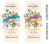 invitation or wedding card with ... | Shutterstock .eps vector #128150936