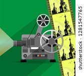 a functioning film projector  a ... | Shutterstock .eps vector #1281547765