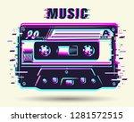 cassette with glitch effect...   Shutterstock . vector #1281572515