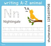 writing a z animal n nightingale | Shutterstock .eps vector #1281605908