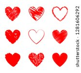 heart hand drawn icons set... | Shutterstock .eps vector #1281606292